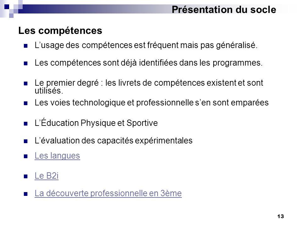 13 Les compétences Les compétences sont déjà identifiées dans les programmes. Lusage des compétences est fréquent mais pas généralisé. Le premier degr