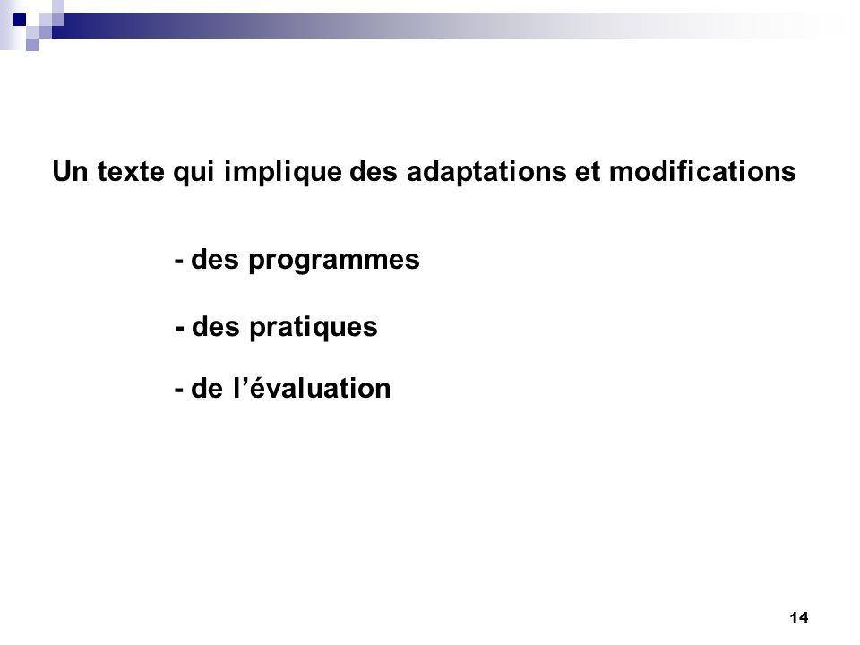 14 Un texte qui implique des adaptations et modifications - des programmes - des pratiques - de lévaluation