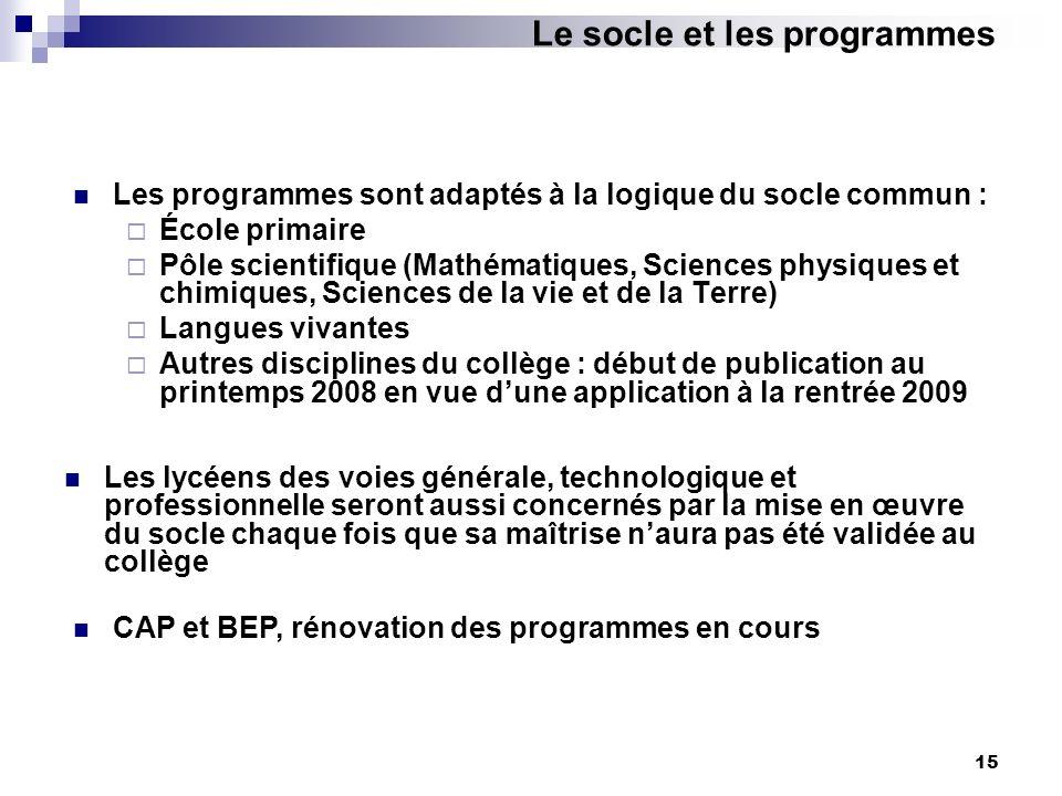 15 Les programmes sont adaptés à la logique du socle commun : École primaire Pôle scientifique (Mathématiques, Sciences physiques et chimiques, Scienc