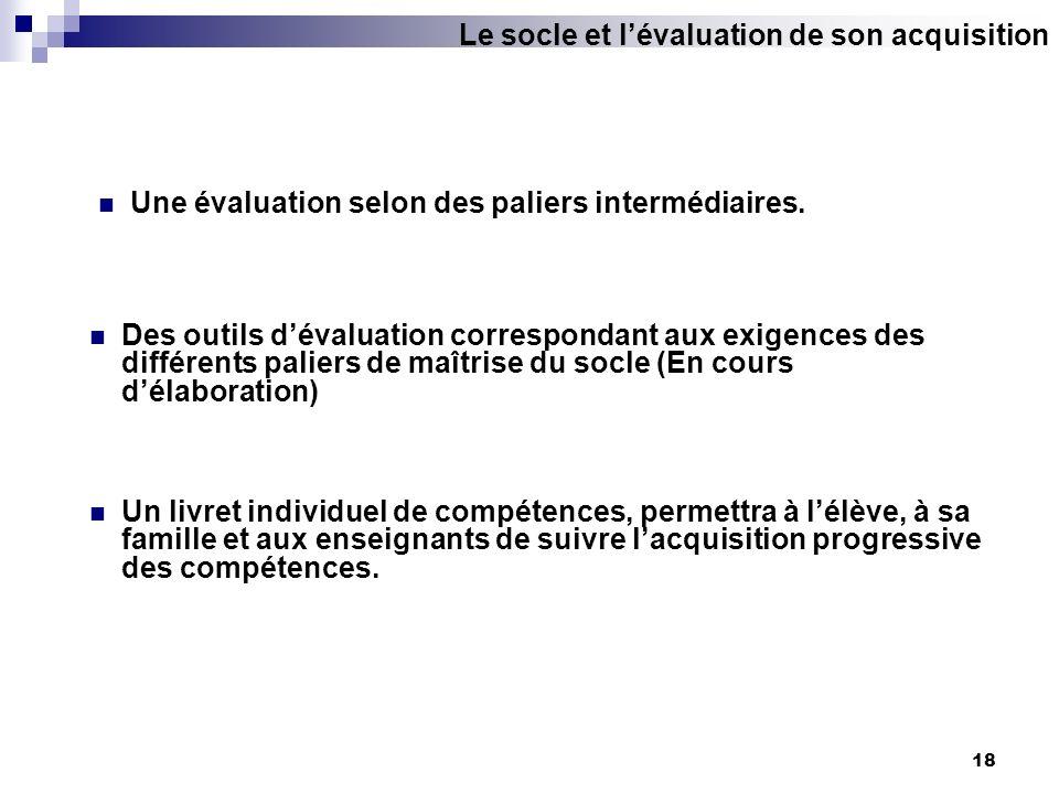 18 Une évaluation selon des paliers intermédiaires. Des outils dévaluation correspondant aux exigences des différents paliers de maîtrise du socle (En
