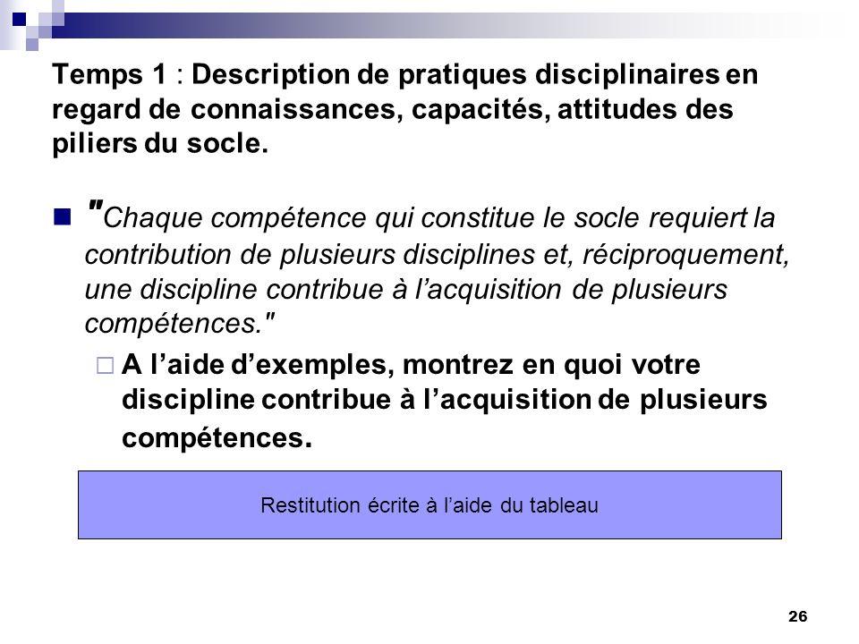 26 Temps 1 : Description de pratiques disciplinaires en regard de connaissances, capacités, attitudes des piliers du socle.