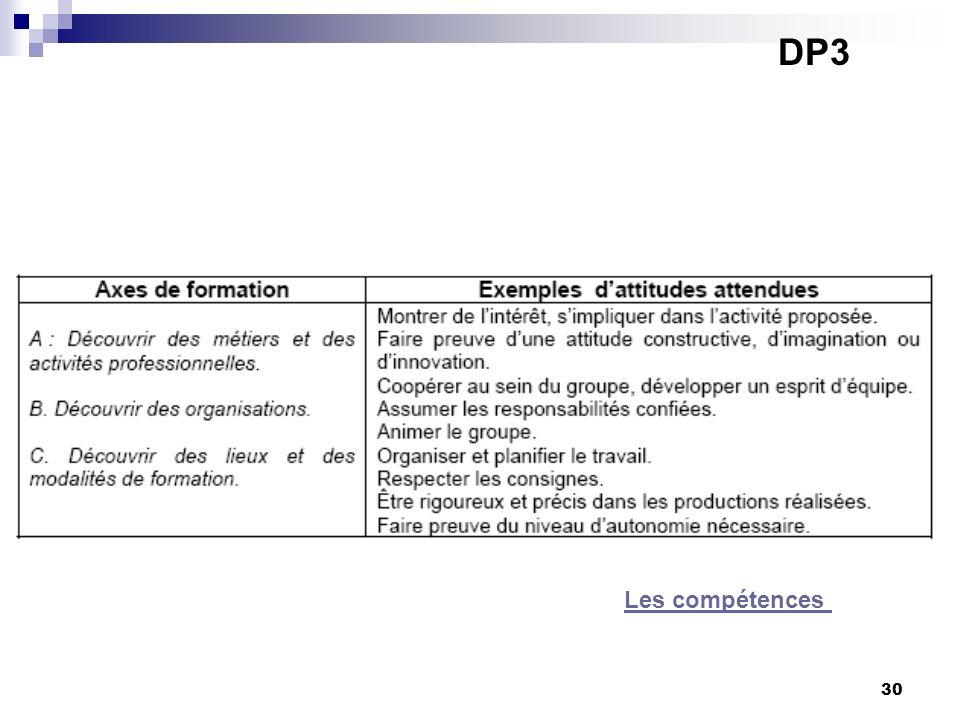 30 DP3 Les compétences