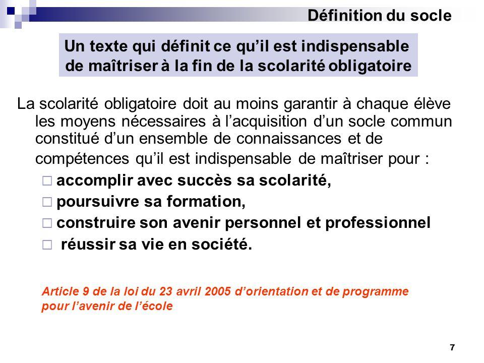 7 Article 9 de la loi du 23 avril 2005 dorientation et de programme pour lavenir de lécole La scolarité obligatoire doit au moins garantir à chaque él
