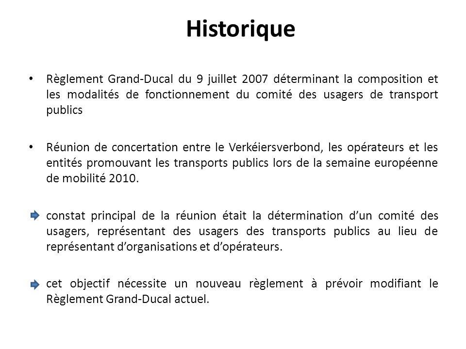 Règlement Grand-Ducal du 9 juillet 2007 déterminant la composition et les modalités de fonctionnement du comité des usagers de transport publics Réuni