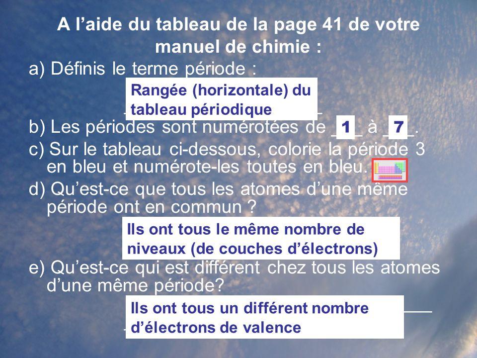 A laide du tableau de la page 41 de votre manuel de chimie : a) Définis le terme période : __________________ ___________________ b) Les périodes sont numérotées de ___ à ___.