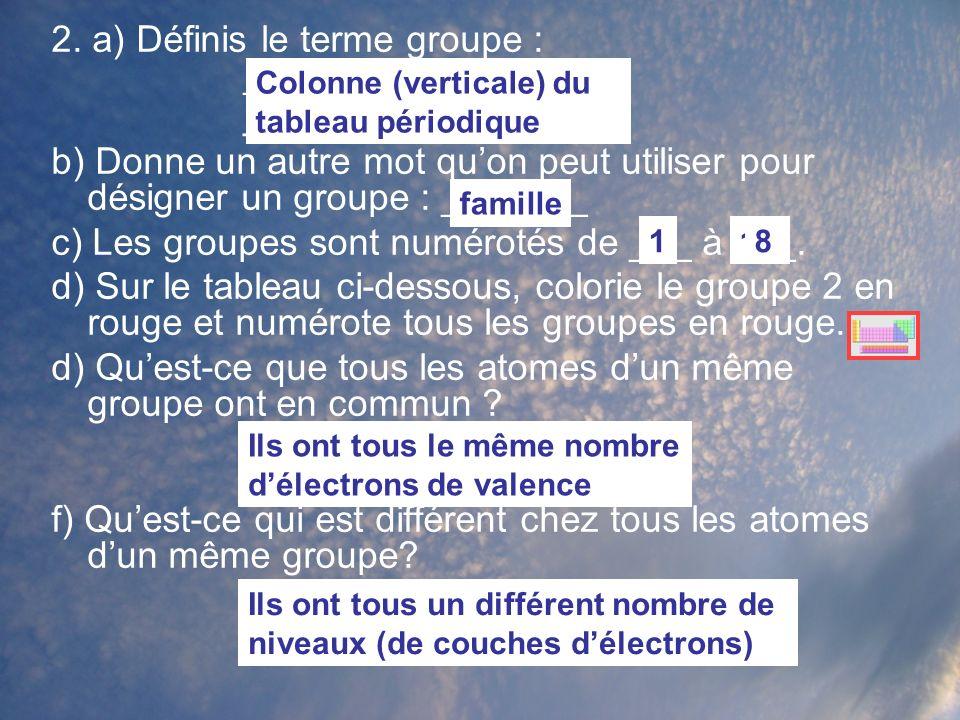2. a) Définis le terme groupe : ________________ ________________ b) Donne un autre mot quon peut utiliser pour désigner un groupe : _______ c) Les gr