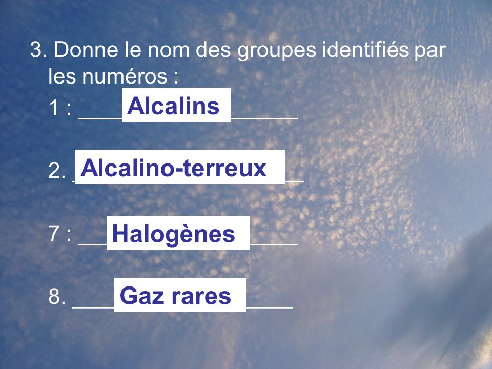 3.Donne le nom des groupes identifiés par les numéros : 1 : __________________ 2.