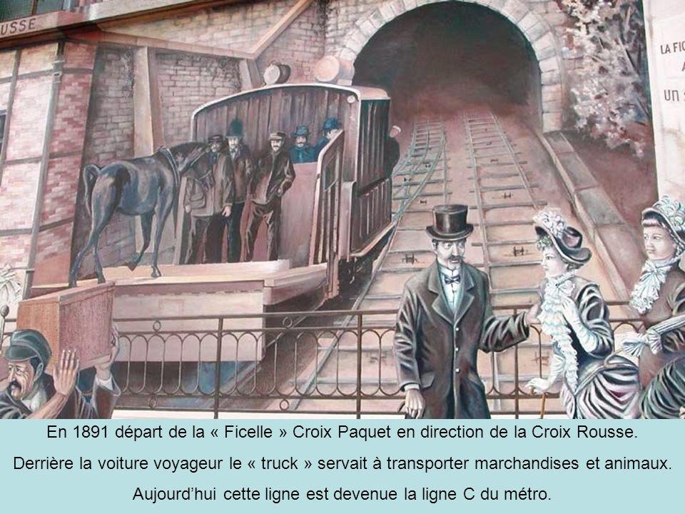 « La guillotine » Ainsi surnommé, parce que passant trop près des maisons et carrefours, sans visibilité, ce train à vapeur est lancêtre du célèbre Train Bleu bien connu des lyonnais se rendant sur les bords de Saône, jusquà Neuville, lors des beaux jours.