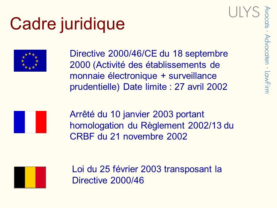 Directive 2000/46/CE du 18 septembre 2000 (Activité des établissements de monnaie électronique + surveillance prudentielle) Date limite : 27 avril 200
