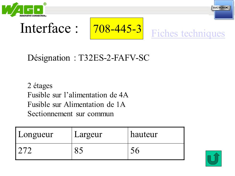 708-445-3 Désignation : T32ES-2-FAFV-SC Interface : 2 étages Fusible sur lalimentation de 4A Fusible sur Alimentation de 1A Sectionnement sur commun L