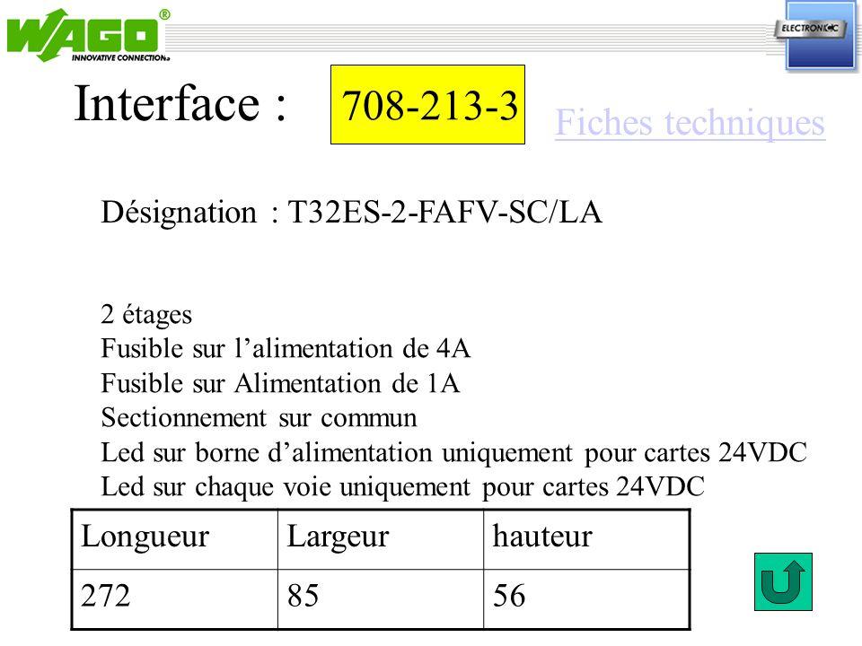 708-213-3 Désignation : T32ES-2-FAFV-SC/LA Interface : 2 étages Fusible sur lalimentation de 4A Fusible sur Alimentation de 1A Sectionnement sur commu