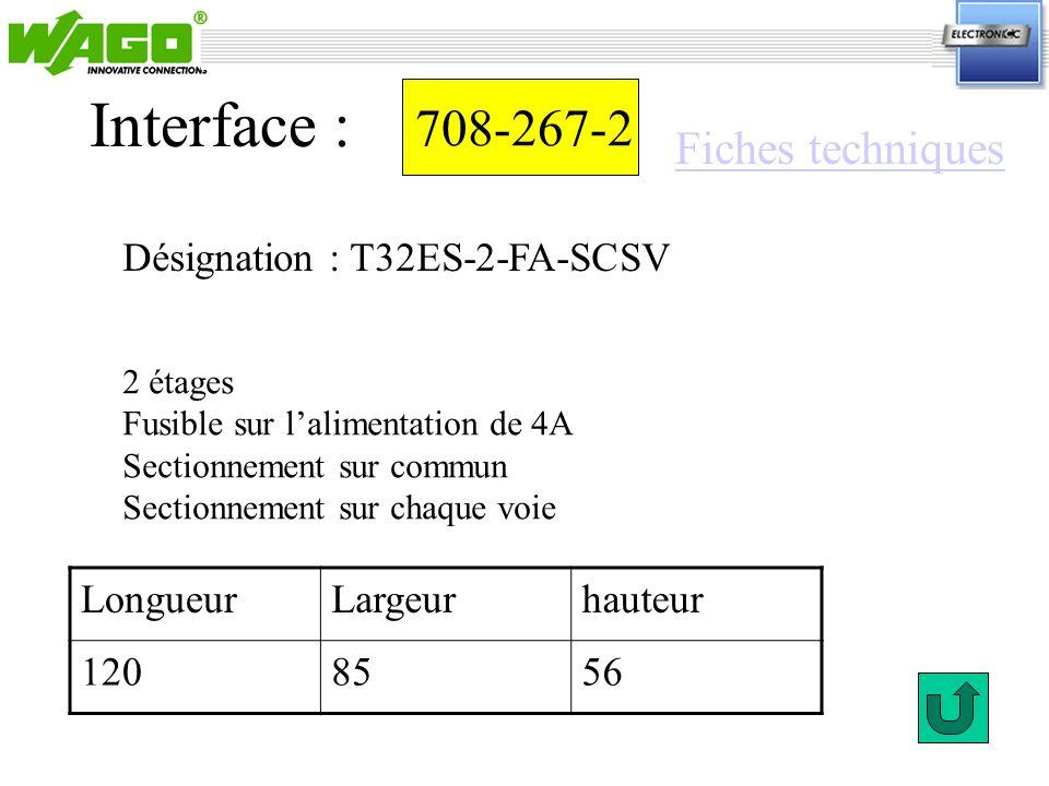 708-267-2 Désignation : T32ES-2-FA-SCSV Interface : 2 étages Fusible sur lalimentation de 4A Sectionnement sur commun Sectionnement sur chaque voie Lo