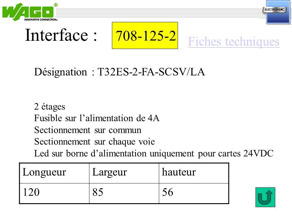 708-125-2 Désignation : T32ES-2-FA-SCSV/LA Interface : 2 étages Fusible sur lalimentation de 4A Sectionnement sur commun Sectionnement sur chaque voie