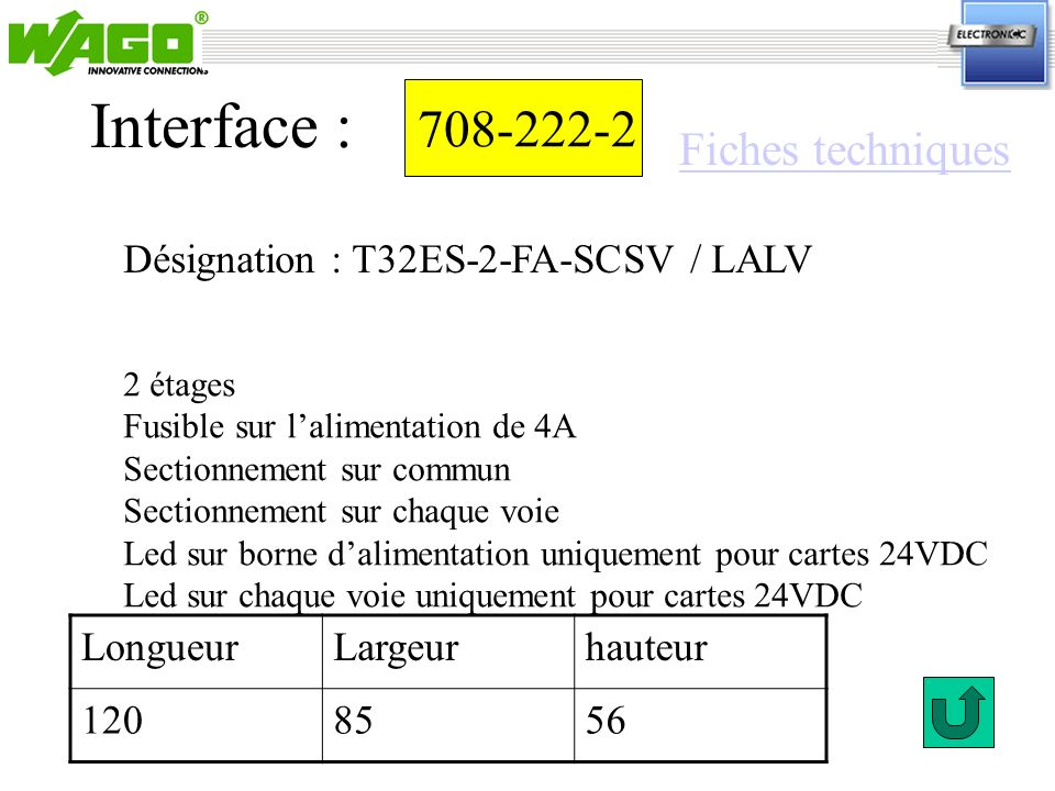 708-222-2 Interface : 2 étages Fusible sur lalimentation de 4A Sectionnement sur commun Sectionnement sur chaque voie Led sur borne dalimentation uniq