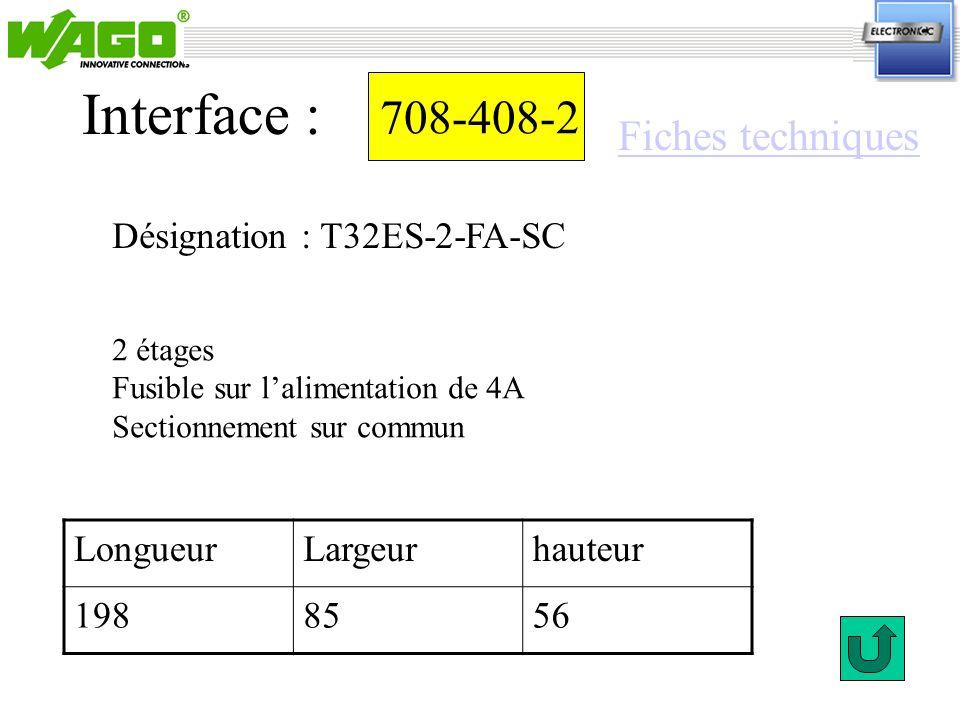 708-408-2 Interface : 2 étages Fusible sur lalimentation de 4A Sectionnement sur commun Désignation : T32ES-2-FA-SC LongueurLargeurhauteur 1988556 Fic