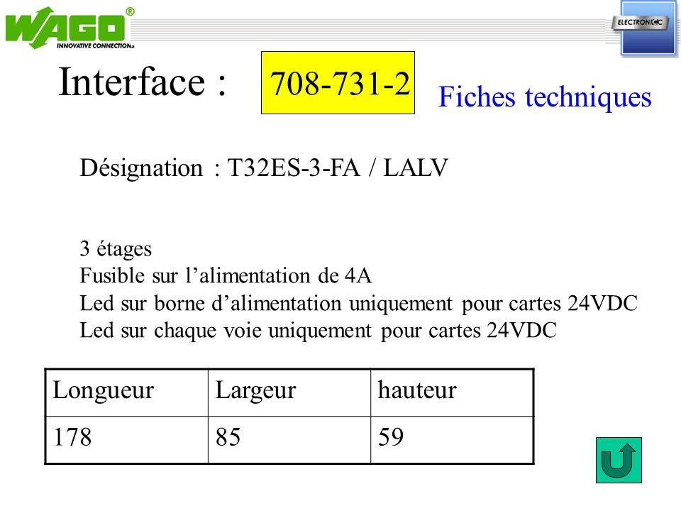 708-731-2 Désignation : T32ES-3-FA / LALV Interface : 3 étages Fusible sur lalimentation de 4A Led sur borne dalimentation uniquement pour cartes 24VD