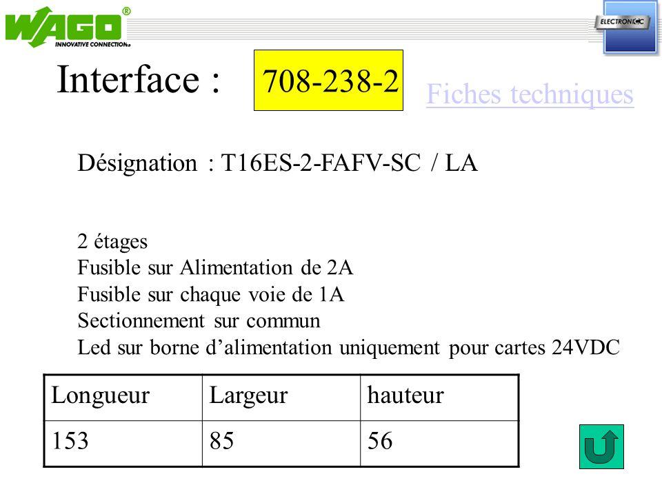 708-238-2 Interface : 2 étages Fusible sur Alimentation de 2A Fusible sur chaque voie de 1A Sectionnement sur commun Led sur borne dalimentation uniqu