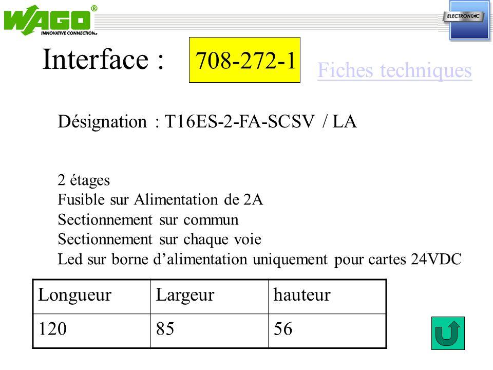 708-272-1 Interface : 2 étages Fusible sur Alimentation de 2A Sectionnement sur commun Sectionnement sur chaque voie Led sur borne dalimentation uniqu