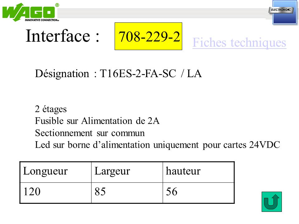 708-229-2 Interface : 2 étages Fusible sur Alimentation de 2A Sectionnement sur commun Led sur borne dalimentation uniquement pour cartes 24VDC Désign