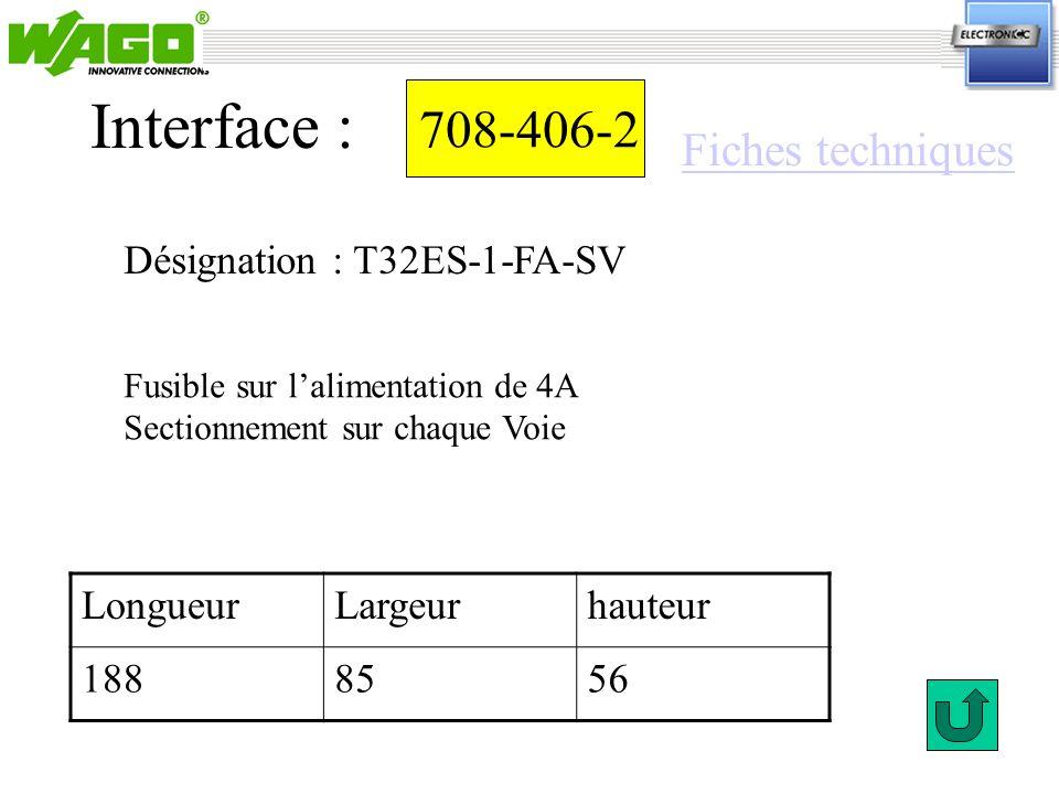 708-406-2 Désignation : T32ES-1-FA-SV Interface : Fusible sur lalimentation de 4A Sectionnement sur chaque Voie LongueurLargeurhauteur 1888556 Fiches