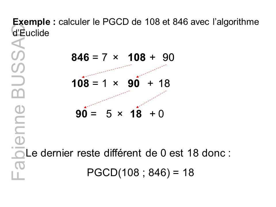 Fabienne BUSSAC Exemple : calculer le PGCD de 108 et 846 avec lalgorithme dEuclide 846 =108×+79010890 108 =×+1 18 90 18 90 = 18 ×+50 Le dernier reste