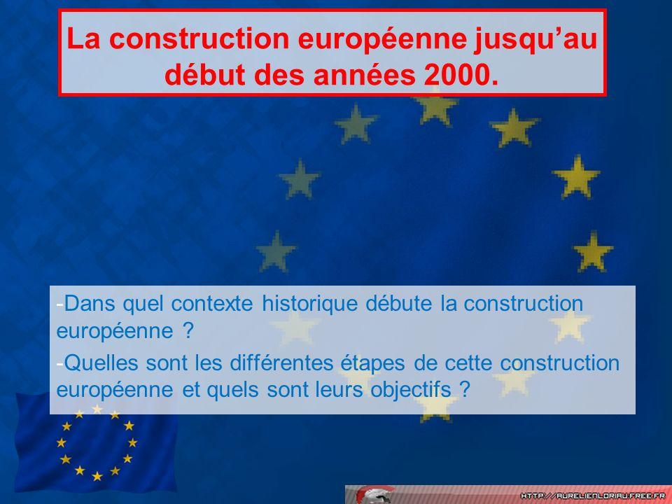 La construction européenne jusquau début des années 2000. -Dans quel contexte historique débute la construction européenne ? -Quelles sont les différe