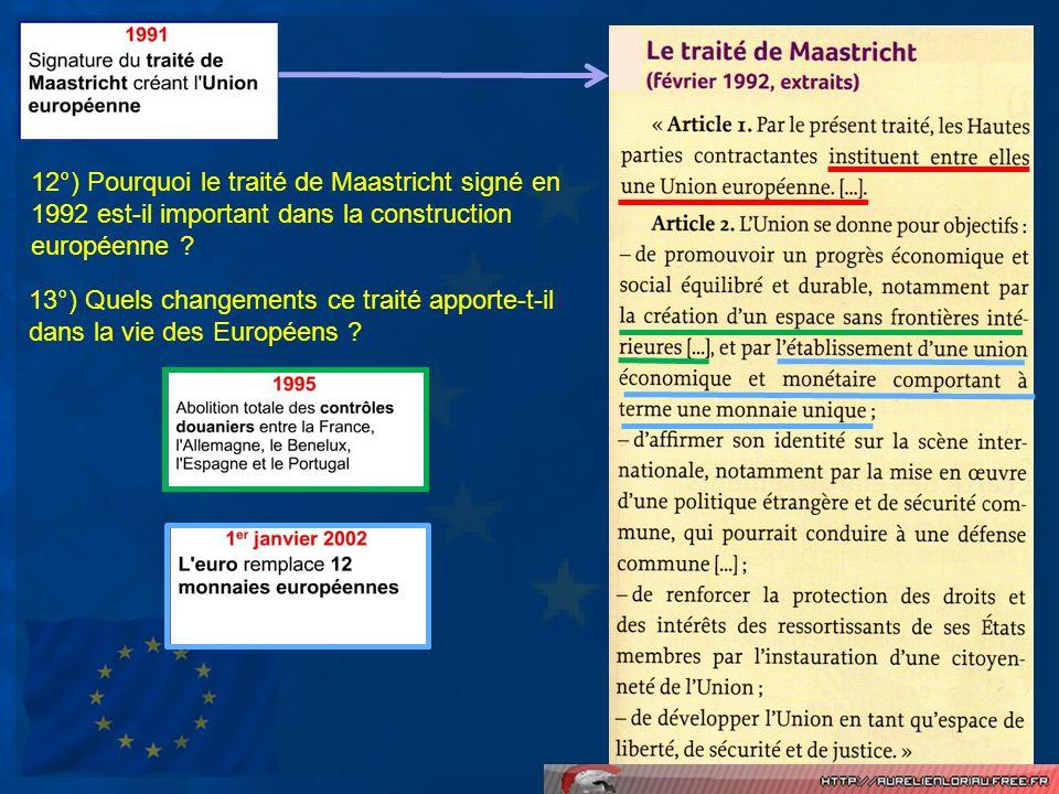 12°) Pourquoi le traité de Maastricht signé en 1992 est-il important dans la construction européenne ? 13°) Quels changements ce traité apporte-t-il d