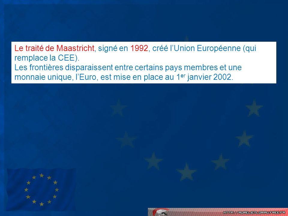 Le traité de Maastricht, signé en 1992, créé lUnion Européenne (qui remplace la CEE). Les frontières disparaissent entre certains pays membres et une