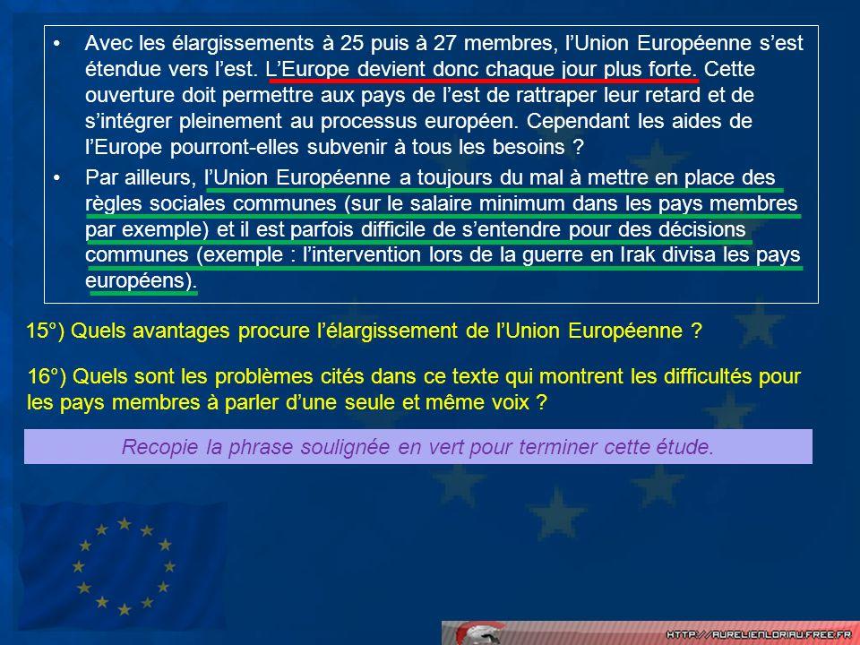 Avec les élargissements à 25 puis à 27 membres, lUnion Européenne sest étendue vers lest. LEurope devient donc chaque jour plus forte. Cette ouverture