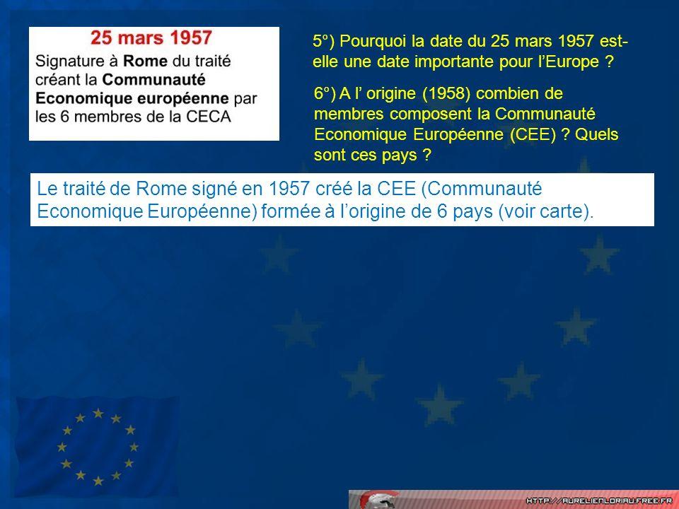 5°) Pourquoi la date du 25 mars 1957 est- elle une date importante pour lEurope ? 6°) A l origine (1958) combien de membres composent la Communauté Ec
