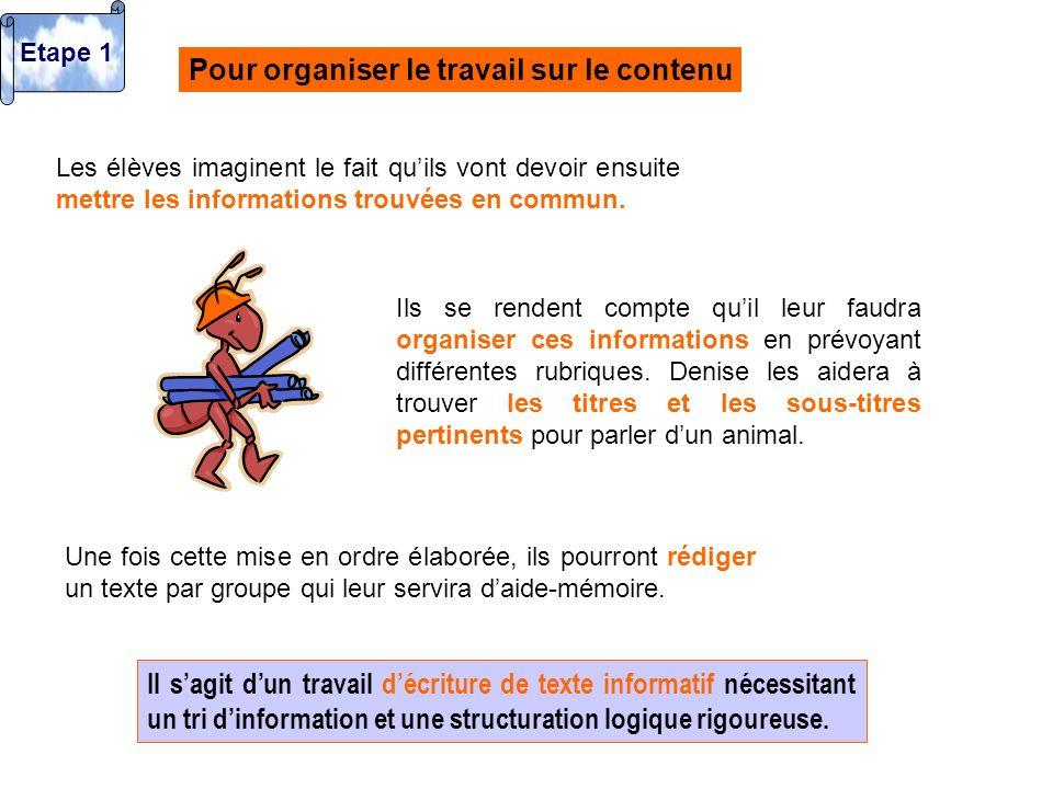 Pour organiser le travail sur le contenu Les élèves imaginent le fait quils vont devoir ensuite mettre les informations trouvées en commun. Ils se ren
