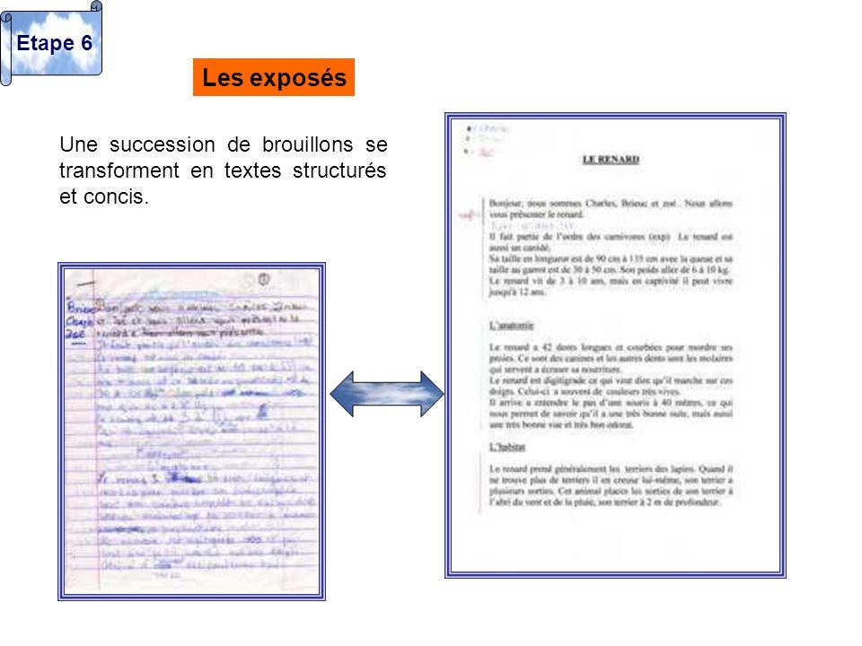 Les exposés Une succession de brouillons se transforment en textes structurés et concis. Etape 6