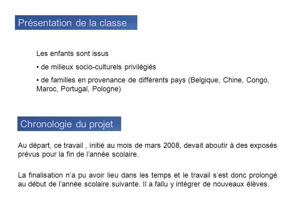 Présentation de la classe Les enfants sont issus de milieux socio-culturels privilégiés de familles en provenance de différents pays (Belgique, Chine,