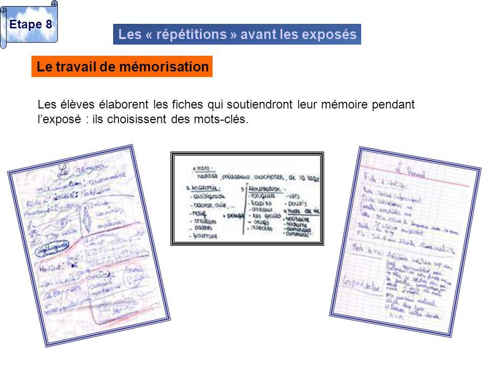 Les « répétitions » avant les exposés Le travail de mémorisation Les élèves élaborent les fiches qui soutiendront leur mémoire pendant lexposé : ils c