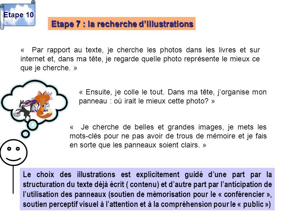 Etape 7 : la recherche dillustrations « Par rapport au texte, je cherche les photos dans les livres et sur internet et, dans ma tête, je regarde quell