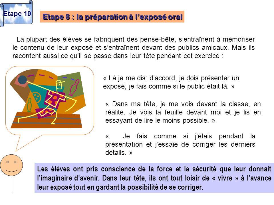Etape 8 : la préparation à lexposé oral La plupart des élèves se fabriquent des pense-bête, sentraînent à mémoriser le contenu de leur exposé et sentr