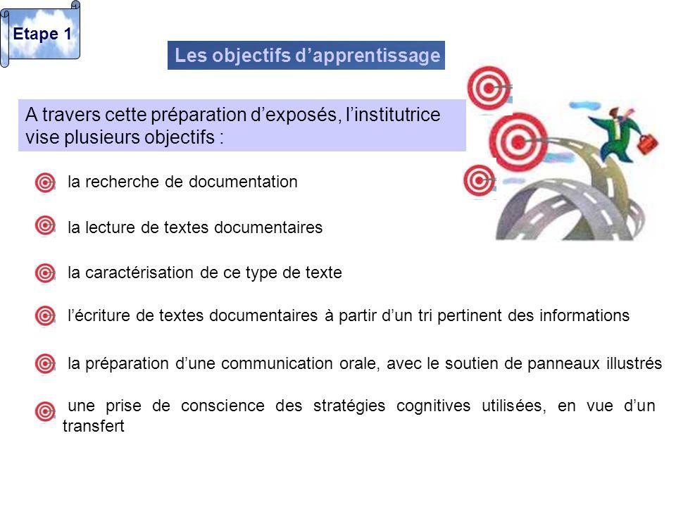 A travers cette préparation dexposés, linstitutrice vise plusieurs objectifs : Les objectifs dapprentissage Etape 1 une prise de conscience des straté