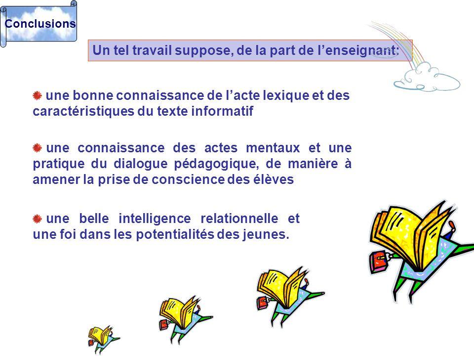 Conclusions Un tel travail suppose, de la part de lenseignant: une bonne connaissance de lacte lexique et des caractéristiques du texte informatif une