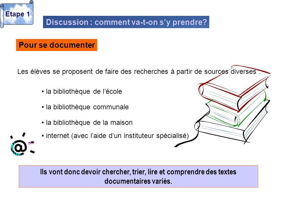 Pour organiser le travail sur le contenu Les élèves imaginent le fait quils vont devoir ensuite mettre les informations trouvées en commun.