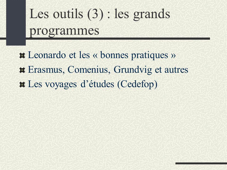 Les outils (3) : les grands programmes Leonardo et les « bonnes pratiques » Erasmus, Comenius, Grundvig et autres Les voyages détudes (Cedefop)