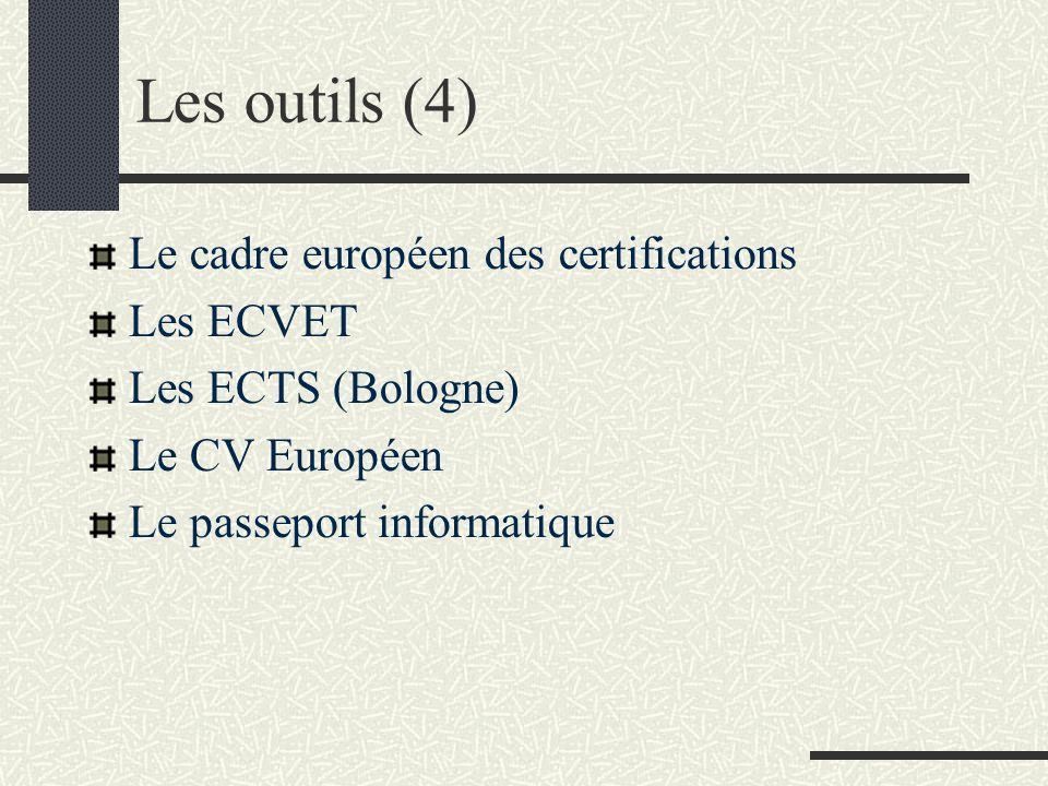 Les outils (4) Le cadre européen des certifications Les ECVET Les ECTS (Bologne) Le CV Européen Le passeport informatique