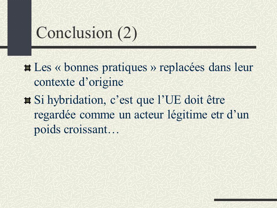 Conclusion (2) Les « bonnes pratiques » replacées dans leur contexte dorigine Si hybridation, cest que lUE doit être regardée comme un acteur légitime