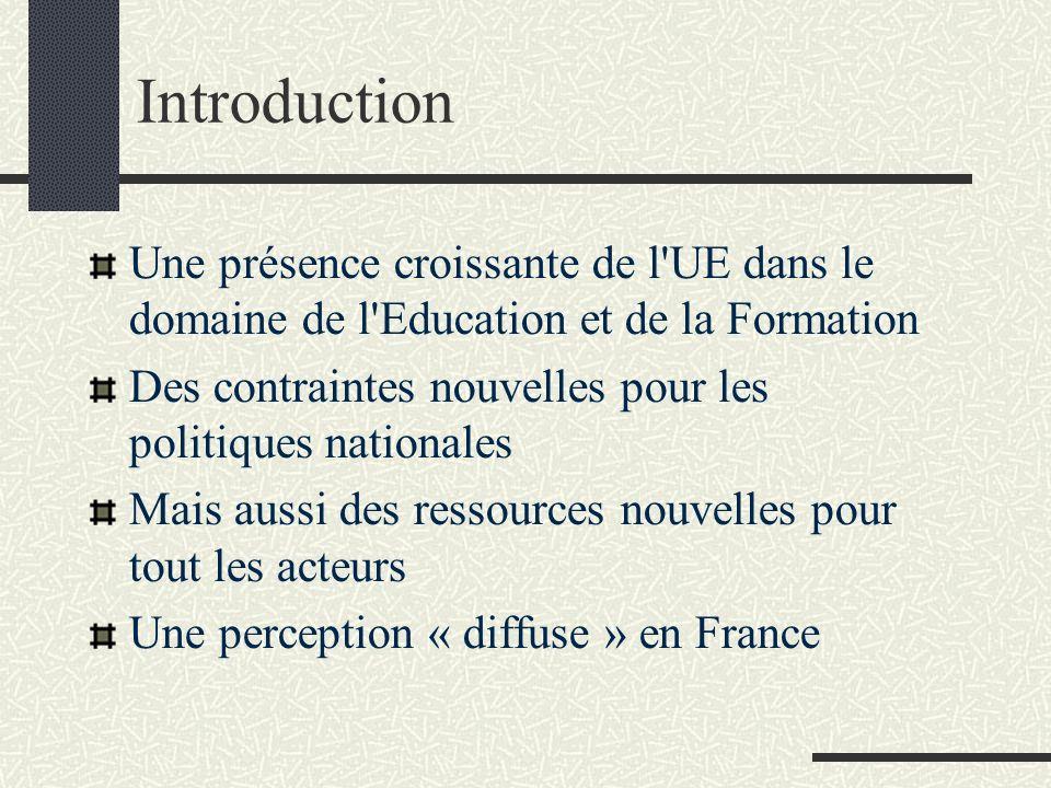 Introduction Une présence croissante de l'UE dans le domaine de l'Education et de la Formation Des contraintes nouvelles pour les politiques nationale