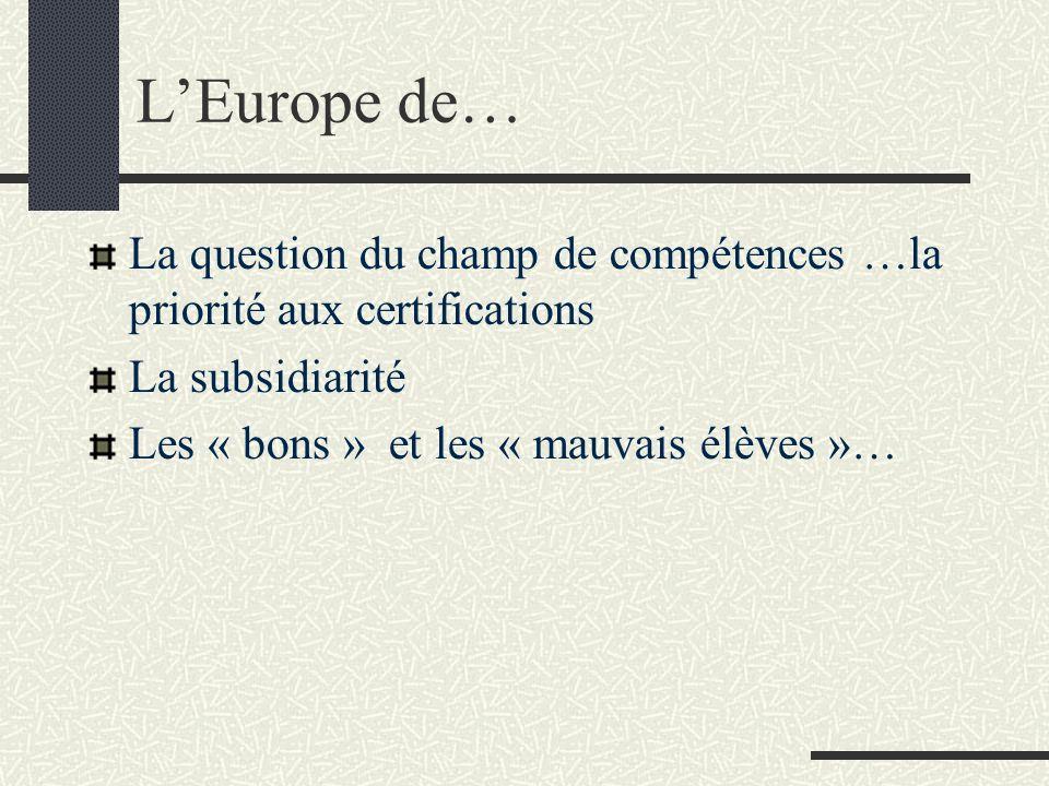 LEurope de… La question du champ de compétences …la priorité aux certifications La subsidiarité Les « bons » et les « mauvais élèves »…