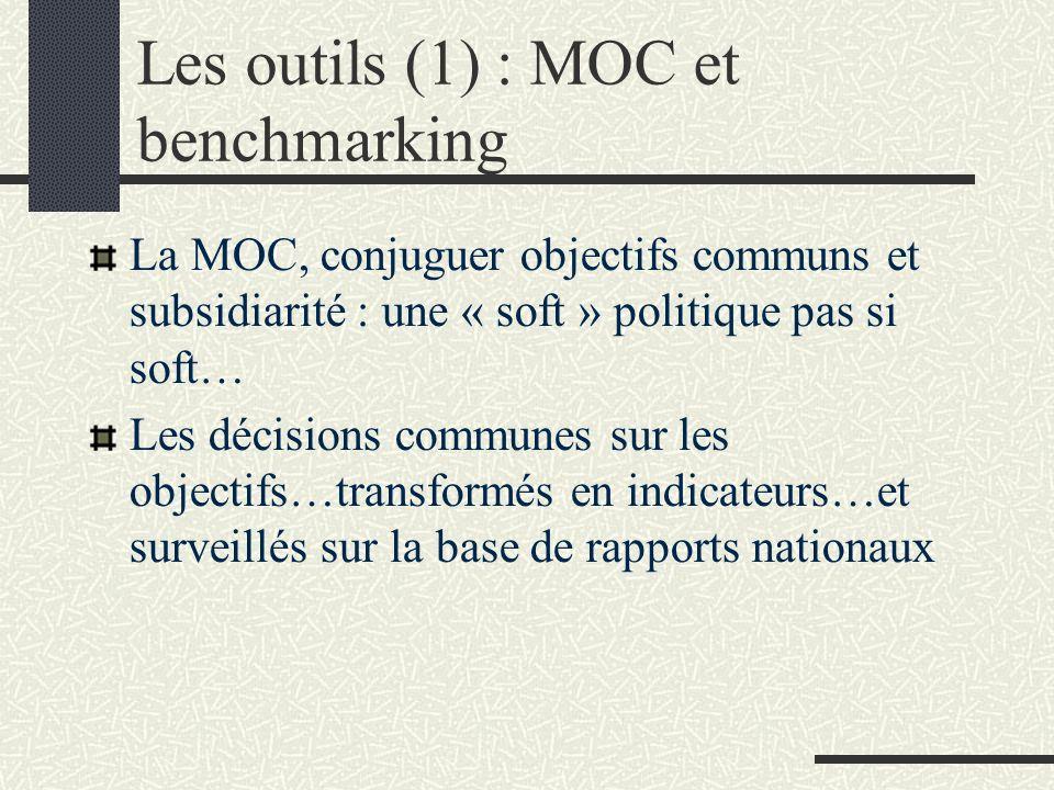 Les outils (1) : MOC et benchmarking La MOC, conjuguer objectifs communs et subsidiarité : une « soft » politique pas si soft… Les décisions communes