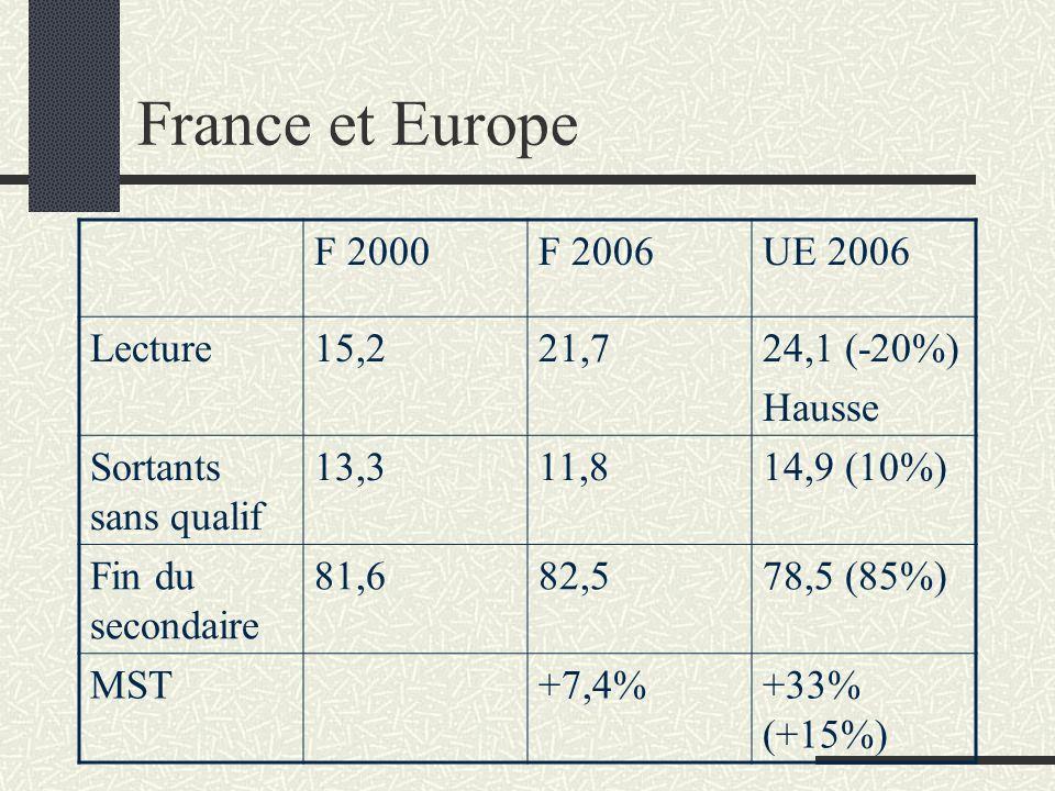 France et Europe F 2000F 2006UE 2006 Lecture15,221,724,1 (-20%) Hausse Sortants sans qualif 13,311,814,9 (10%) Fin du secondaire 81,682,578,5 (85%) MS