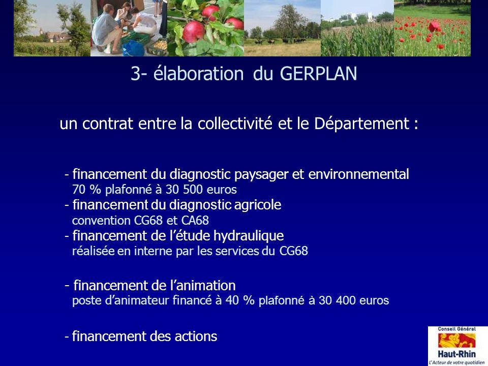 - financement du diagnostic paysager et environnemental 70 % plafonné à 30 500 euros - financement du diagnostic agricole convention CG68 et CA68 - fi
