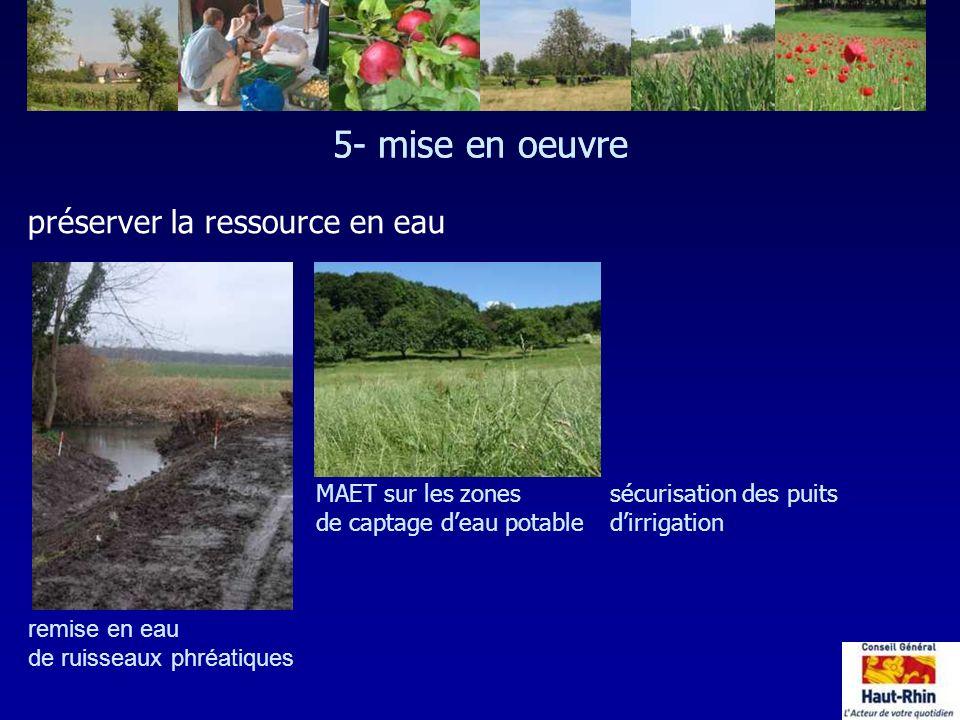 5- mise en oeuvre remise en eau de ruisseaux phréatiques 5- mise en oeuvre préserver la ressource en eau MAET sur les zones de captage deau potable sé