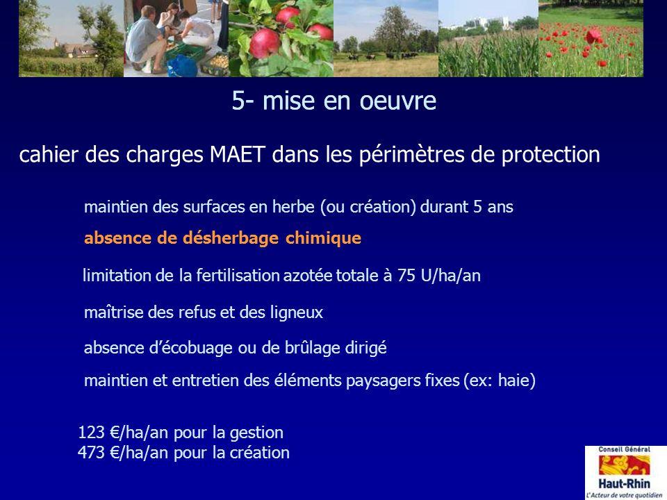 5- mise en oeuvre cahier des charges MAET dans les périmètres de protection maintien des surfaces en herbe (ou création) durant 5 ans maintien et entr