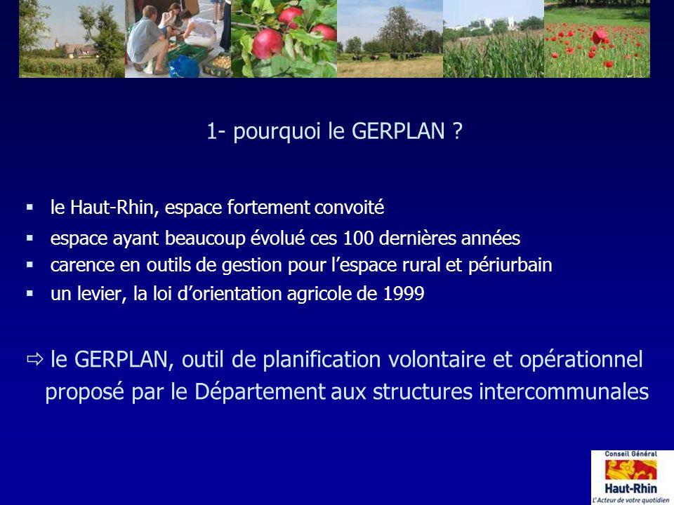 1- pourquoi le GERPLAN ? §le Haut-Rhin, espace fortement convoité §espace ayant beaucoup évolué ces 100 dernières années §carence en outils de gestion